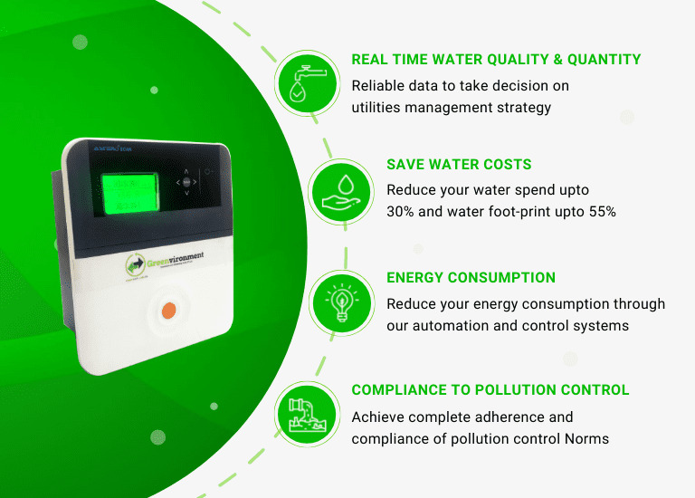 RTM 2.0 helps achieve the real time water quality & quantity, save water costs, energy consumption and compliance to pollution control